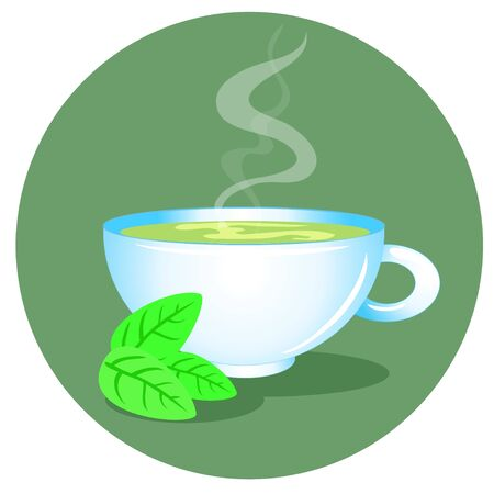 cup of green tea with mint leaves on a green background Vector