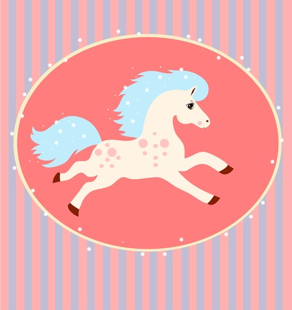 card with a running white horse with blue mane and tail on a striped background