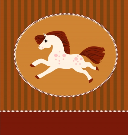 card with white horse in a frame Illustration