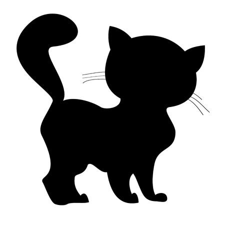 흰색 배경에 작은 새끼 고양이의 실루엣