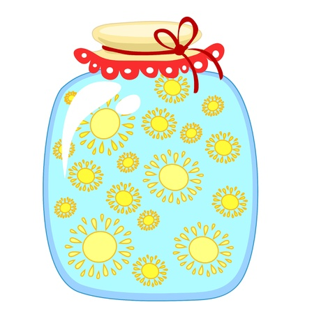 glass jar with canned suns on a white background