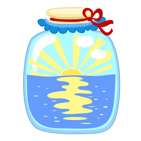tinned: glass jar with tinned sea and sun with a cover on a white background Illustration
