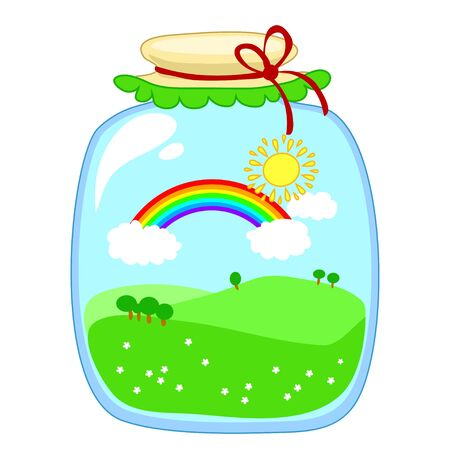 tinned: glass jar with tinned sun, rainbow, clouds and green hills on a white background