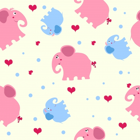 seamless texture with blue and pink elephants and hearts with a light yellow background Vector