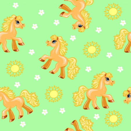 seamless texture with red pony, suns and flowers on a green background Illustration