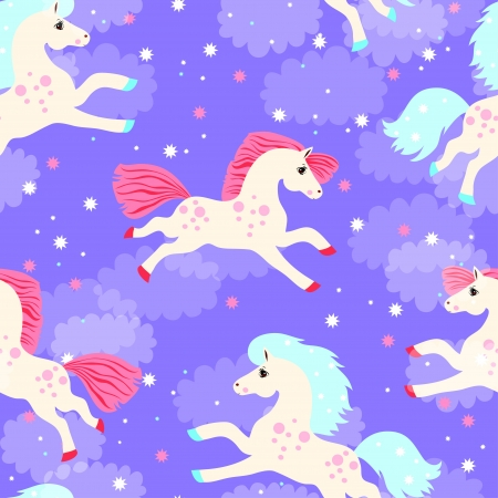seamless texture with colored horses keeps running across the sky with clouds and stars and colored confetti
