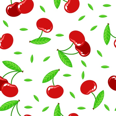 seamless texture with red cherries on a white background