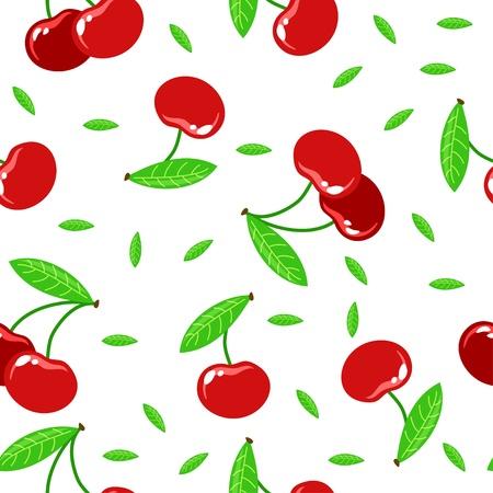 naadloze textuur met rode kersen op een witte achtergrond Stock Illustratie