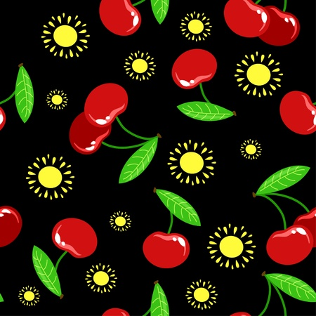 seamless texture with cherries and sun on a black background Vector