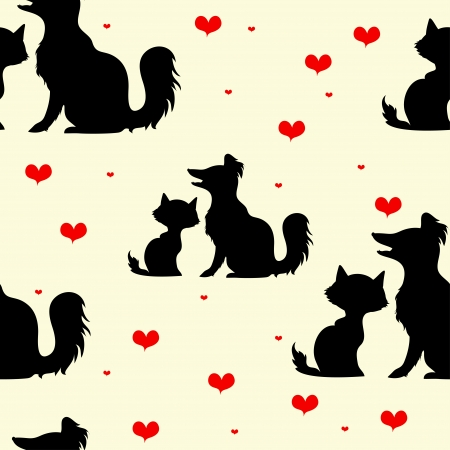 seamless texture with silhouettes of dogs and cats and red hearts Çizim
