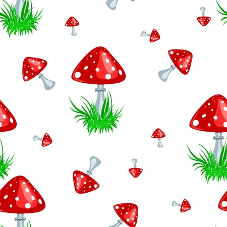 seamless texture with a toadstool and green grass on a white background Vector