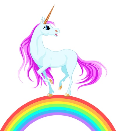 blue unicorn with pink mane on a rainbow Illustration