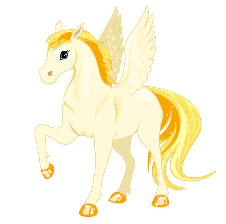 Magic Pegasus with a golden mane and tail