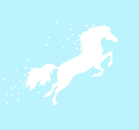 running white horse with stars on a blue background