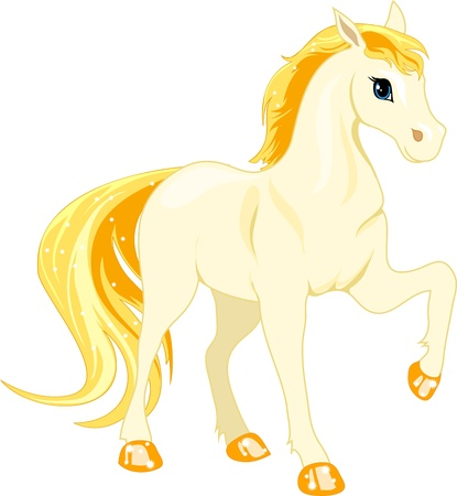 Cartoon white horse with golden mane on a white background