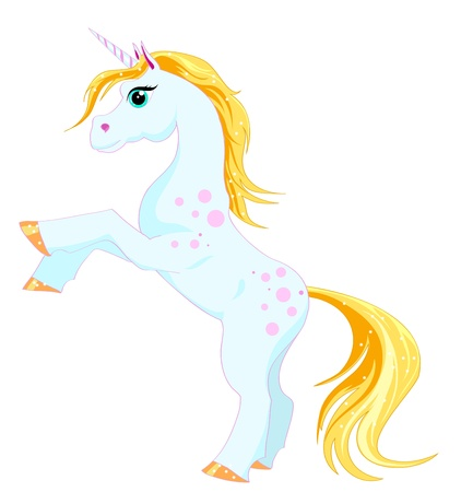 fantastic unicorn with a golden mane and tail on a white background Vector