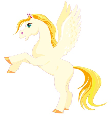 hind: Magic Pegasus with a golden mane and tail on the hind legs Illustration