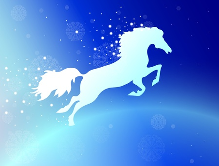 running white horse with stars and snowflakes on a blue background Illustration
