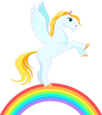 Pegasus with a golden mane and tail on a rainbow Vector