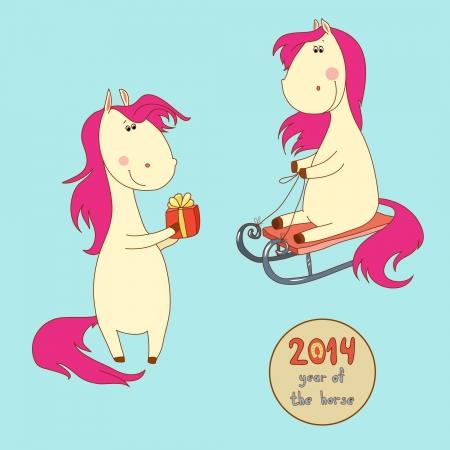 Twee vrolijke Kerst paard met een roze manen en staart Stock Illustratie
