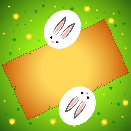 Easter card with rabbit outline Vector