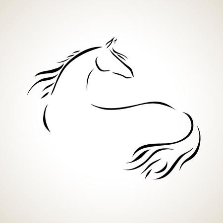 caballo negro: vector estilizada figura de un caballo Vectores