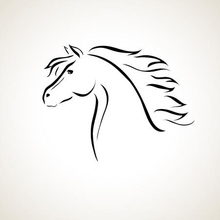 paardenhoofd: vector gestileerde afbeelding van een paard
