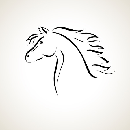 black horses: vector stylized figure of a horse