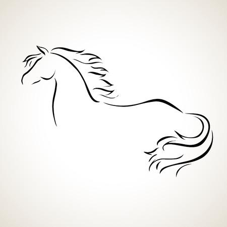 caballos negros: vector estilizada figura de un caballo Vectores