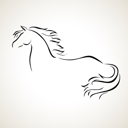 horse riding: vector stylized figure of a horse