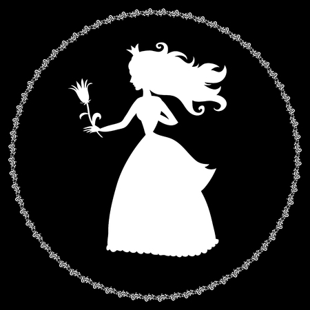 princess silhouette with a flower on a black background Vector