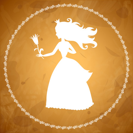 Princess with flower silhouette on old parchment Vector