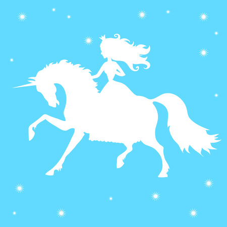 silhouettes princess and unicorn on a blue background Vector