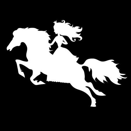 Prinses op paard silhouet op een zwarte achtergrond Stock Illustratie