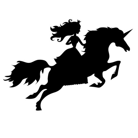 princess and unicorn on white background isolated Vector
