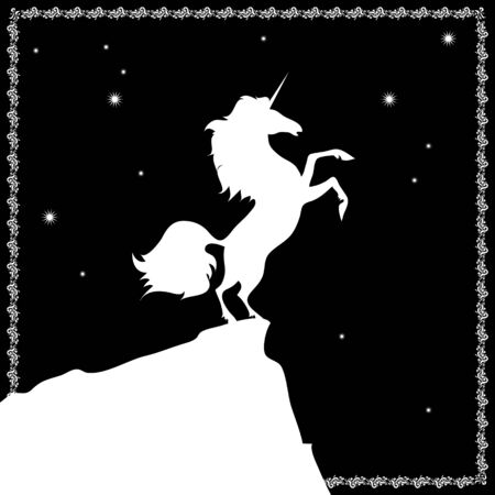 vector white unicorn on a black background