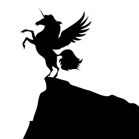 black unicorn on white background isolated