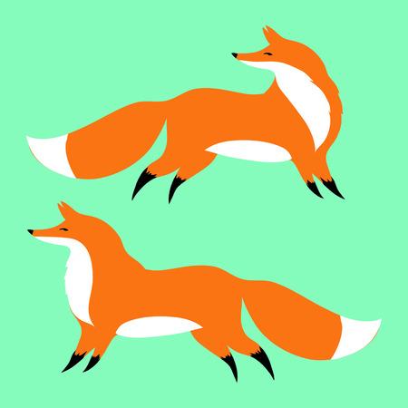 cunning: dos zorros rojos sobre un fondo azul