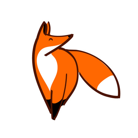 stylized red fox on white background isolated