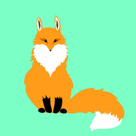 cunning: red fox on a blue background