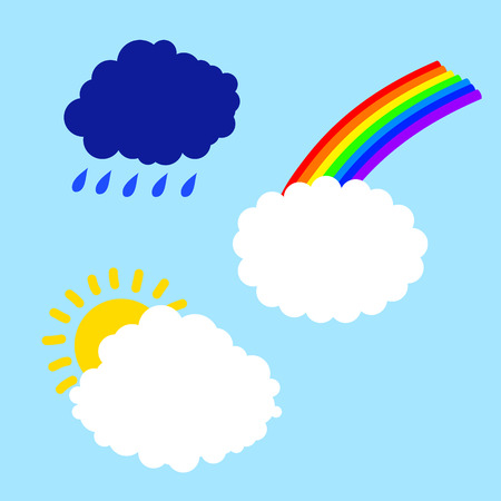 airiness: cloud with rainbow sun and rain on a blue background Illustration