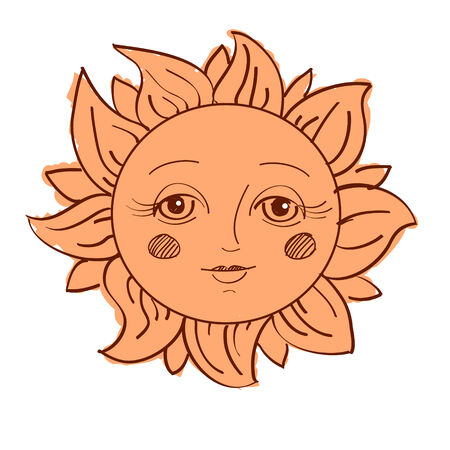 painted sun with a face isolated