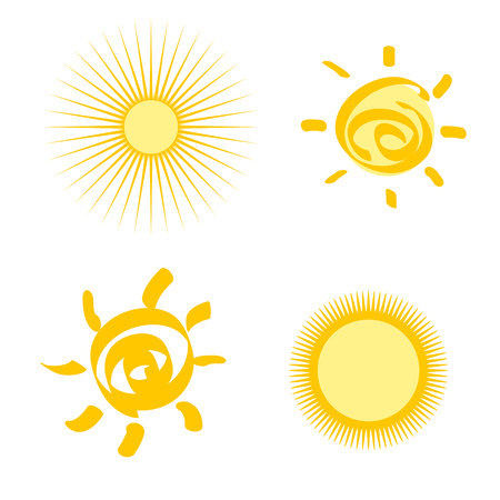 set of stylized sun isolated Vector