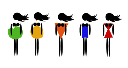 illustration of five types of female figures 일러스트