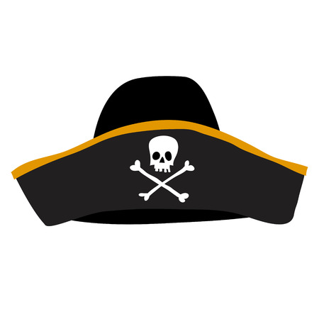 black pirate hat with skull and crossbones Illustration
