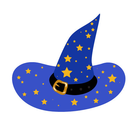 blue wizards hat with stars Illustration