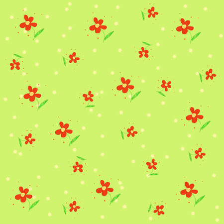 Vector seamless texture with red flowers