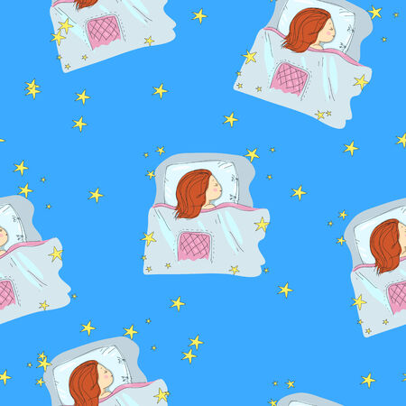 vector seamless texture with the little girl sleeping and stars Illustration