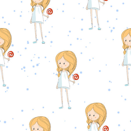 vector seamless texture with a little girl and candy Vector