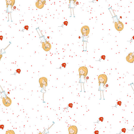 vector seamless texture with a little girl and flowers